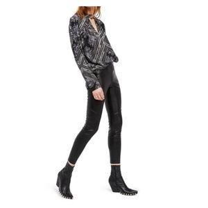 Free People Faux Leather Leggings 28 EUC